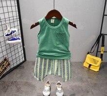 Ensemble de vêtements dété pour bébé garçon   Ensemble de vêtements pour bébé garçon, gilet + pantalon court, ensemble de vêtements pour bébé de 2-6 ans