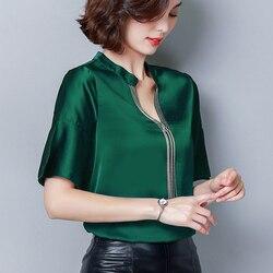 Moda coreana seda mulheres blusas de cetim das mulheres topos e blusas alargamento manga preta camisas femininas plus size xxxl senhoras topos
