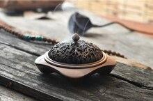 PINNY-enroulement en alliage de cuivre Antique   PINNY Dragon sculpté, porte-encens, brûleur, four aromathérapie, assiette de maison, support en bois de santal