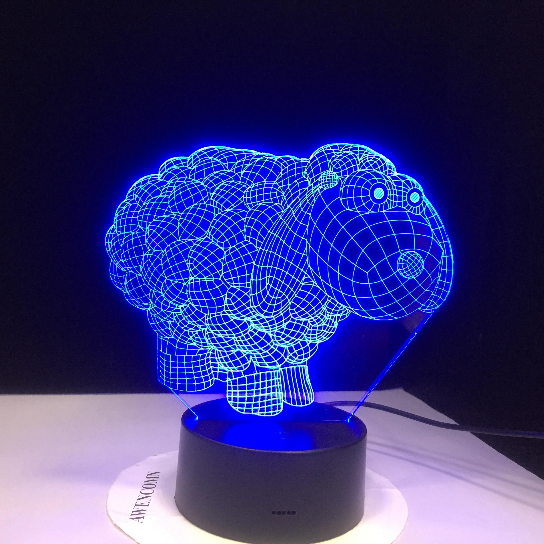 Милая овца мультфильм 7 видов цветов Изменение 3D Визуальный ночник акриловая настольная лампа Led мультфильм освещение приспособление подар...