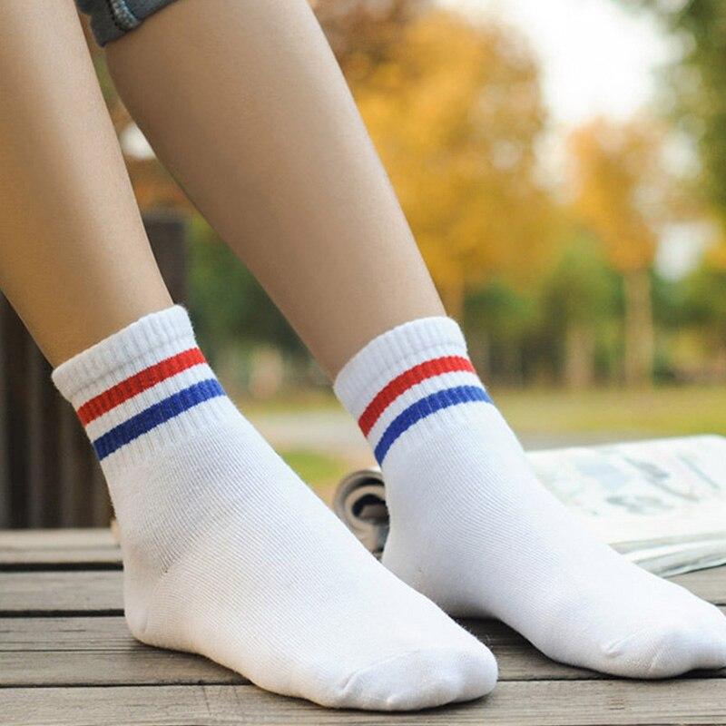 1 par novo estilo campus feminino meninas bonito listrado algodão curto meias harajuku moda casual confortável feminino meias