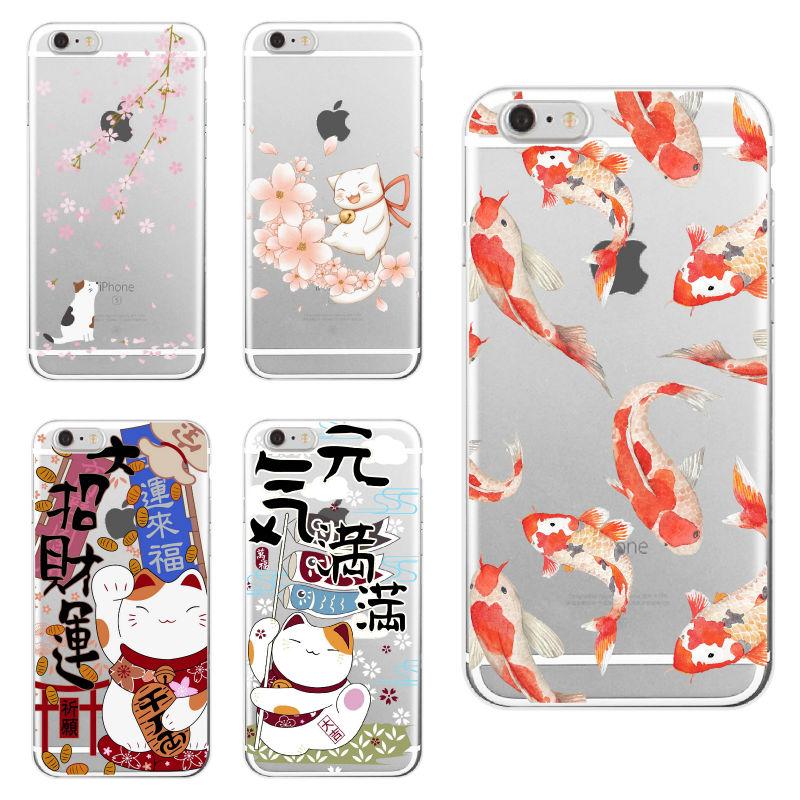 Мягкий прозрачный чехол для телефона iPhone 11 Pro 6S 7Plus 7 8 8Plus XS Max Koi Fish Cherry Blossom Lucky Cat, чехол с японским рисунком
