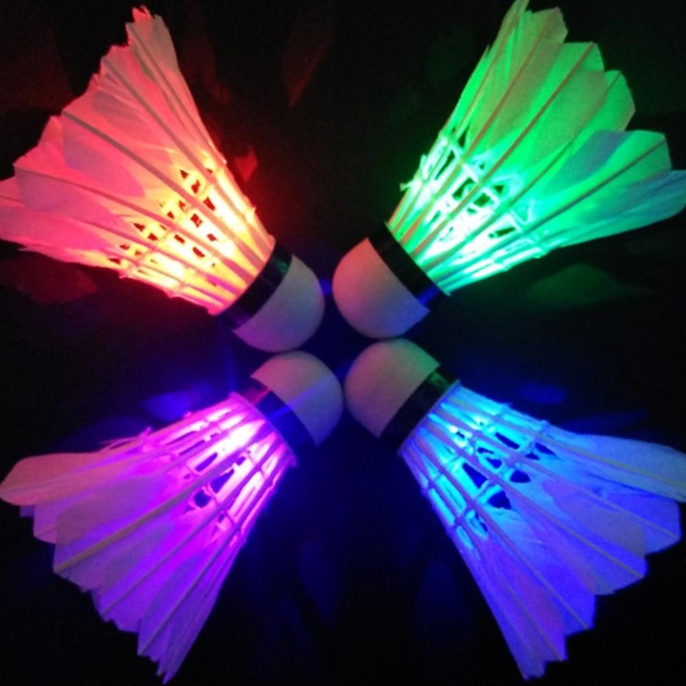 Освещение бадминтон волан Темная ночь красочное светодиодное освещение Спорт Бадминтон мяч аксессуары Свет пятно челнок петух