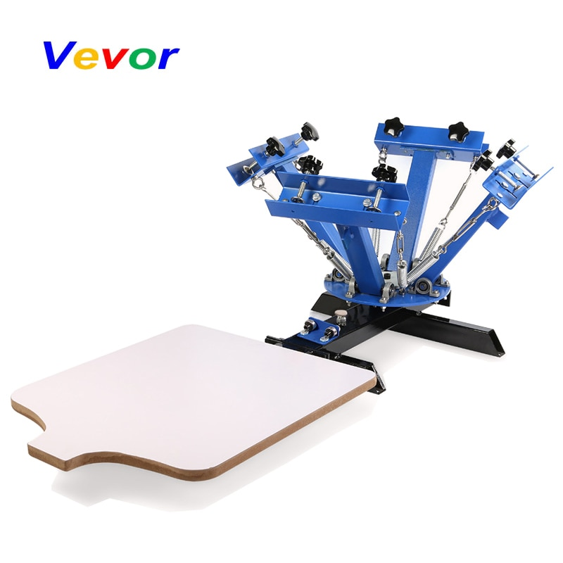 free shipping discount with gift 4 color 2 station silk screen printing machine tshirt printer press equipment carousel squeegee VEVOR Screen Printing Machine Press 4 Color 1 Station Silk Screen Printing Machine Adjustable Double Spring Devices