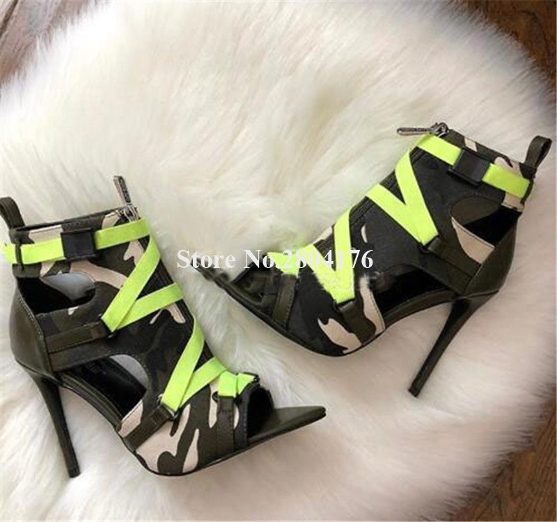 Newest Women Fashion Pointed Open Toe Patchwork Stiletto Heel Short Gladaitor Boots Zipper-up Cut-out High Heel Short Boots