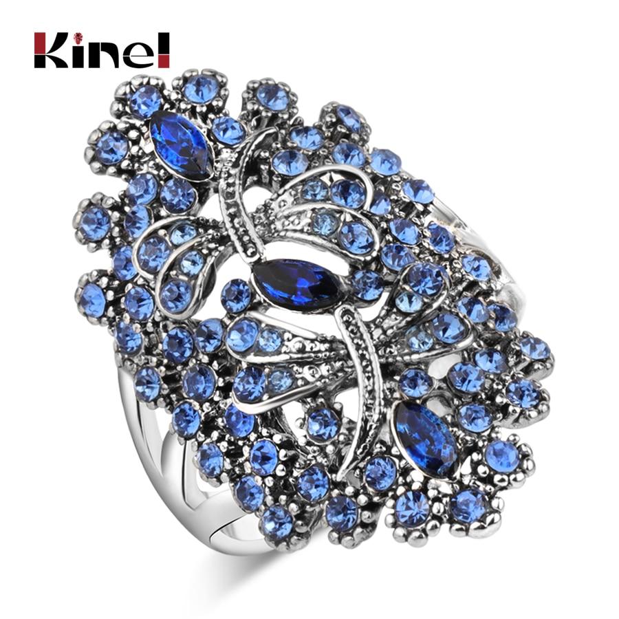 Anillos de diamante libélula azul Vintage Kinel, anillo grande de cristal hueco de Color plateado antiguo para mujer, joyería Animal para fiestas de bodas