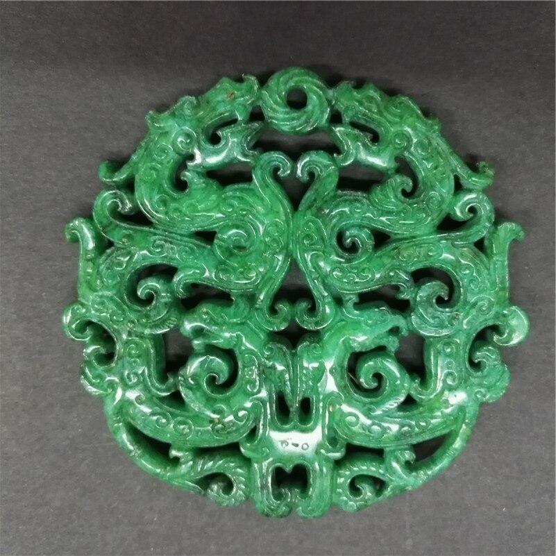 Colgante de piedra preciosa verde con forma de escultura antigua de Asia, colgante de piedra preciosa para collar DIY