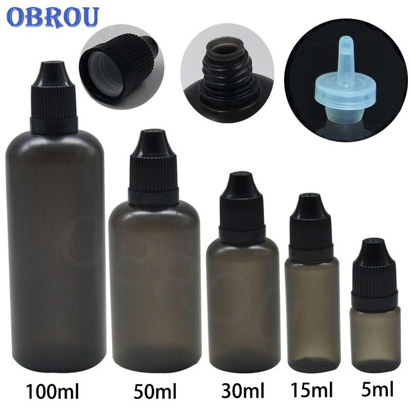 Garrafa plástica preta do conta-gotas 3ml 5ml 10ml 15ml 30ml 50ml 100ml dos óleos essenciais da amostra botllewith tampão à prova de crianças