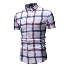 2019 new fashion plaid casual men's shirt summer youth fashion urban trend large size short sleeve shirt hot sale XXXL