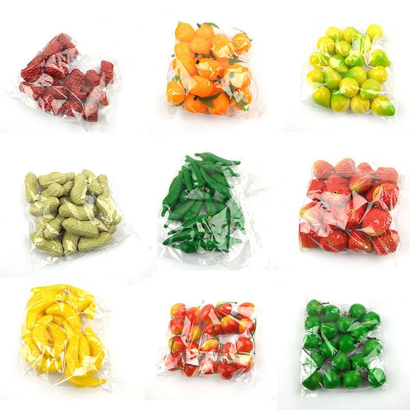 20 pçs/saco fruto artificial mini frutas artificiais e legumes modelo conjunto falso fruta adereços decoração