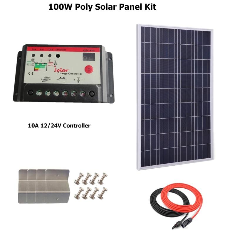 لوحة شمسية متعددة الكريستالات 100 وات مع وحدة تحكم شحن LED ، مع كابل طاقة شمسية ، حامل Z ، منزل ، منزل ، منزل ، منزل ، منزل ، منزل