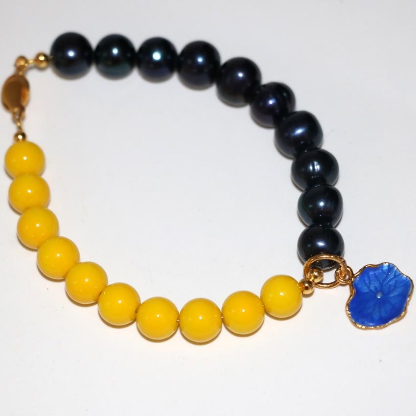 Bohemis estilo preto natural pérola 9-10mm pulseiras amarelo pintura do cozimento 8mm contas redondas de vidro presentes elegantes jóias 7.5 polegada B2967