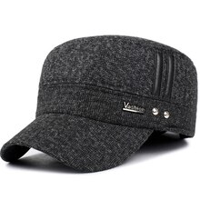 VORON-casquettes de baseball pour hommes   casquette dhiver en coton, chapeaux avec oreillettes garde au chaud toit plat, casquettes de baseball épais pour vieux hommes, casquette de russie