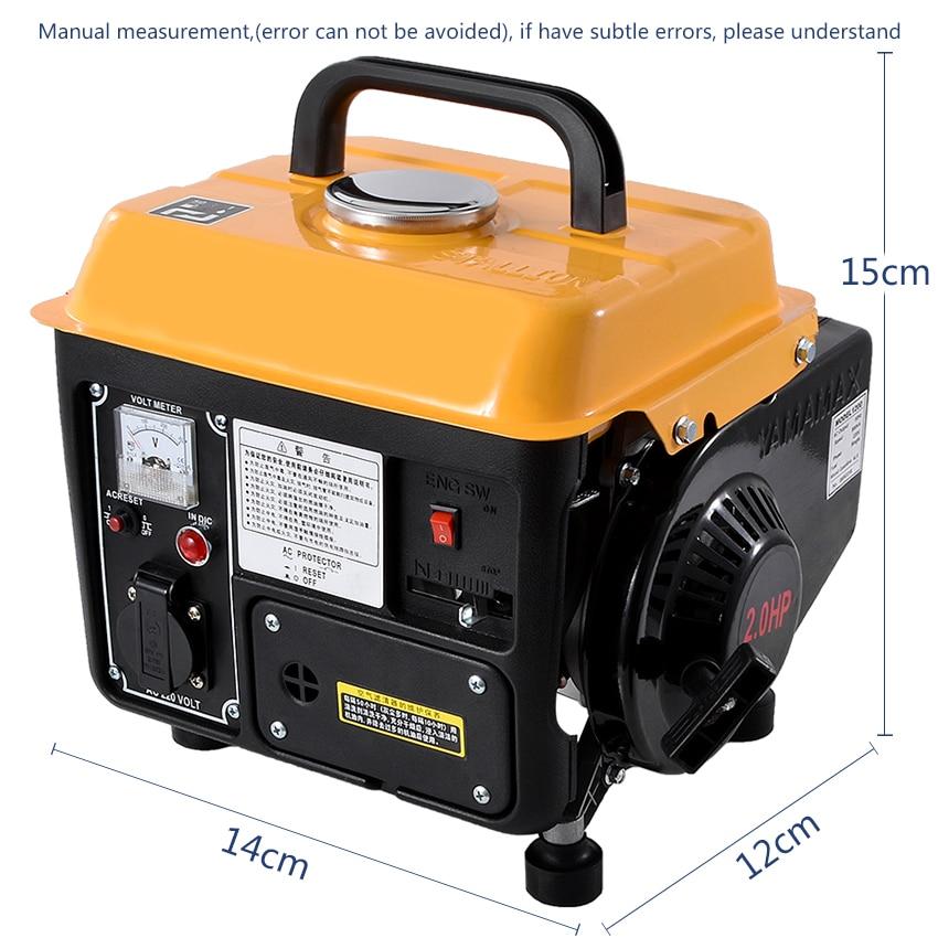 منخفضة الضوضاء البنزين مولد المحمولة المنزلية مصغرة 2-السكتة الدماغية مرحلة واحدة البنزين مولد 110V/220V 700W 63CC