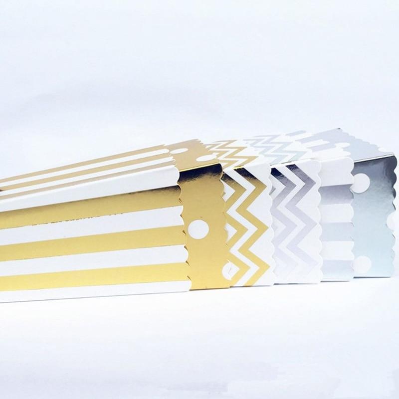 12 Uds. De Mini cajas de palomitas de maíz de fiesta de papel rígido dorado/plateado/bolsas de Favor Sanck, vajilla para bodas, cumpleaños, películas, fiestas