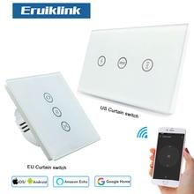 Interrupteur intelligent pour rideau Wifi US   Panneau tactile en verre, avec application WiFi/commande vocale/tactile, commutateurs muraux intelligents sans fil, pour maison intelligente