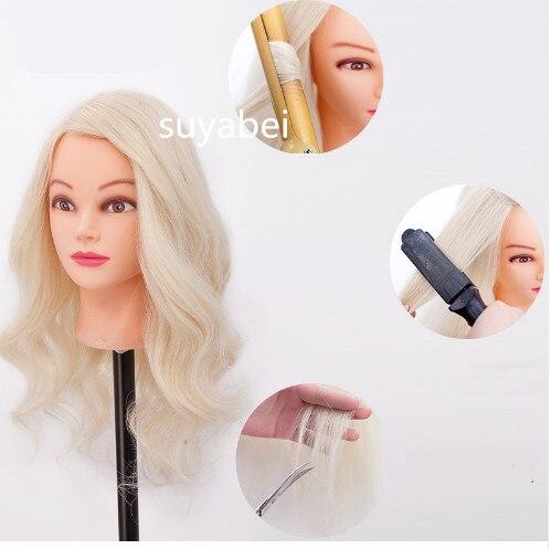 60 cm comprimento do cabelo 85% natural cabelo humano cabeça exibição manequim cabeça para cap ensino manequim boneca