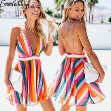 Hirigin feminino sem mangas cor listra mini v profundo vestido de festa de casamento verão praia sling halter vestido de sol