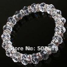 Une pièce belle cristal à facettes blanc verre entretoise perle Bracelet bijoux (gcb1010)