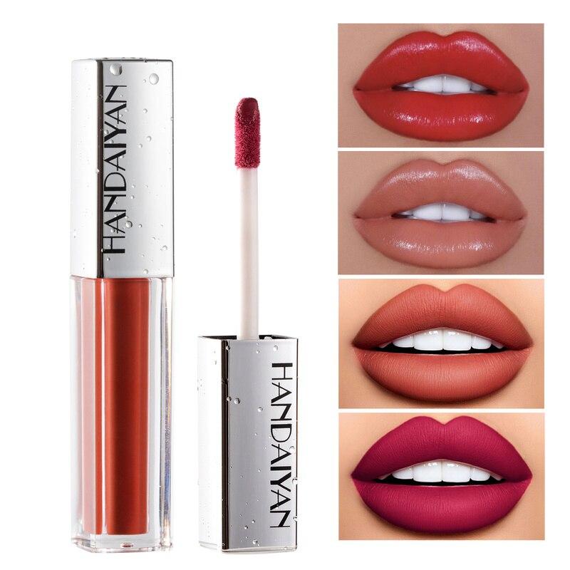 HANDAIYAN, 12 colores, brillo de labios, terciopelo mate, duradero, lápiz labial hidratante, esmalte de labios 3D, impermeable, Plumper, tinte de labios, glaseado TSLM1