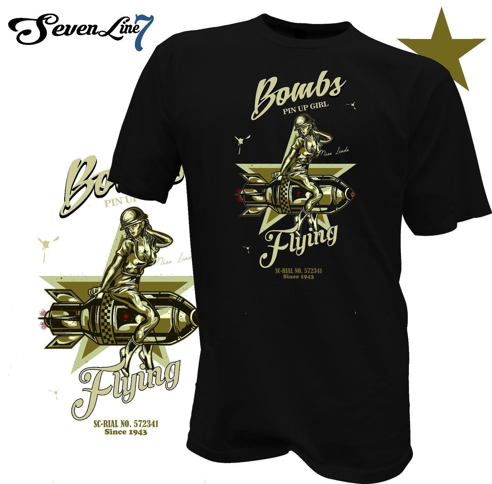 2019 verão Tee Cool Shirt T-Shirt Pin Up Bomba Flieger Flugzeug RC Thunderbird Bombshell Flug EUA Exército T-shirt Engraçado