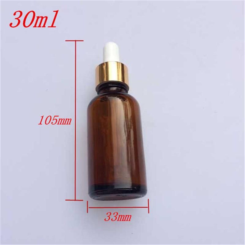 10 Uds 33x105mm DIY 30 ml botellas de cuentagotas de aceite esencial de vidrio marrón frascos de reactivos líquidos frascos de Perfume de aromaterapia contenedores