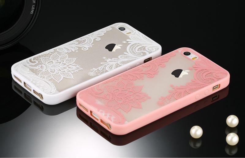 Sexy retro floral phone case dla apple iphone 7 6 6 s 5 5S SE Plus Koronki Kwiat Dysk PC + TPU Przypadki Back Cover Capa Dla iPhone7Plus 5