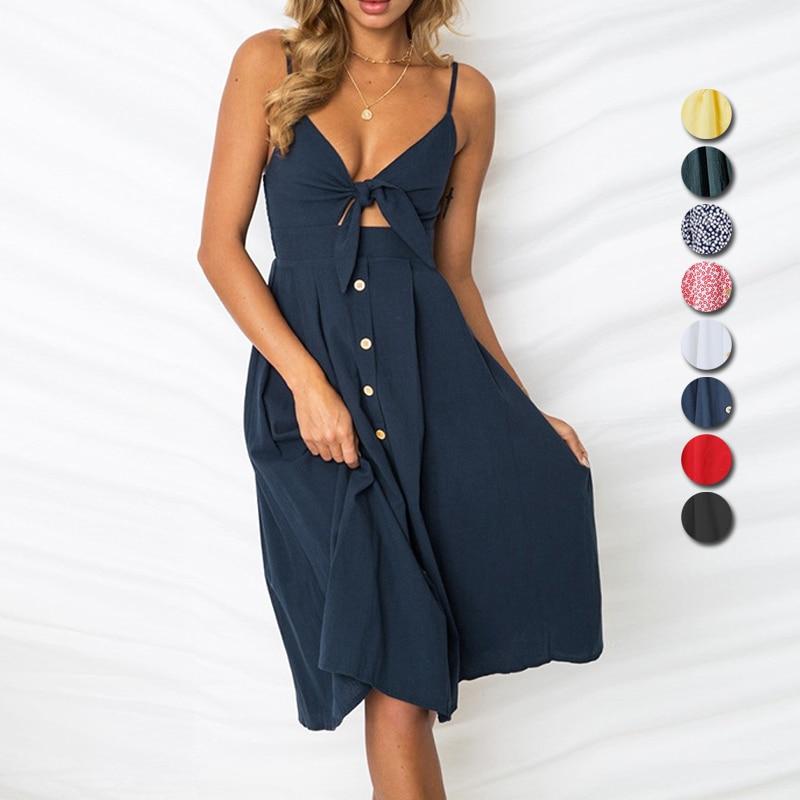 MONERFFI Sexy Party Kleid Frauen Sexy Bodycon Strand Sommerkleid Spaghetti Strap Backless Verband Kleid Boho V-ausschnitt Sommer Kleider