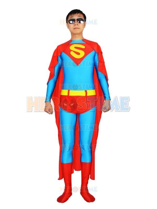 Light Blue and Red Superman Spandex Superhero Costume with Cape Lycra Zentai Halloween Superman Cosplay Bodysuit