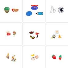 2~5 Pcs/set Creative Enamel Pin Fashion Fruit Orange Kiwi Brain Eye Rabbit Pins Brooch Badge Charm Cartoon Brooches Jewelry Gift
