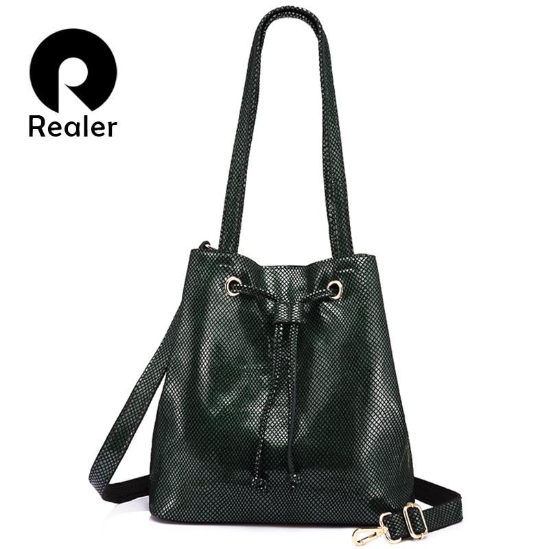REALER brand fashion women genuine leather handbags large capacity draw string bucket bags female serpentine print shoulder bag
