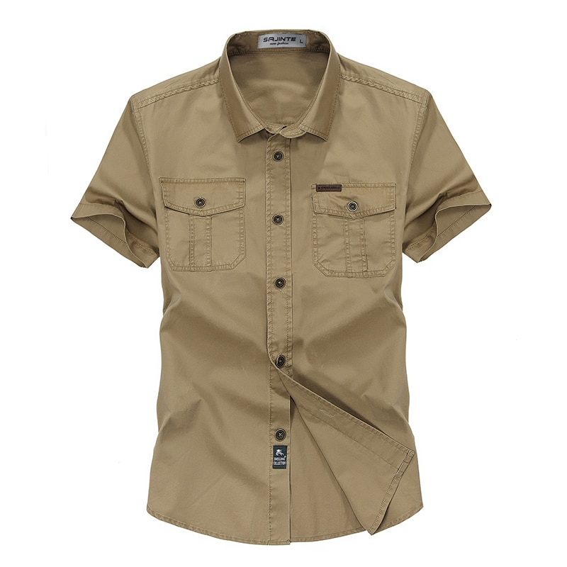 Camisas de hombre de algodón de manga corta de Color sólido cuello vuelto ejército verde caqui hombres Tops Casual Camisa masculina m-XXXL