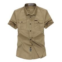 Solid Color Cotton Mens Shirts Short Sleeve Turn-down Collar Army Green Khaki Men Tops Casual Male Camisas shirt M- XXXL