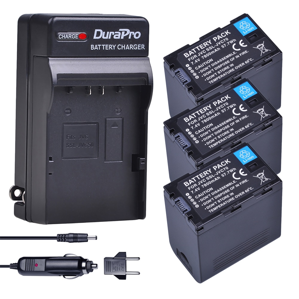 3pc 7800mAh SSL-JVC70 SSL JVC70 y batería de coche/cargador de pared para JVC50 70 JVC GY-HM600 GY-HM650 GY-HMQ10 GY-HM200 GY-LS300 Cámara