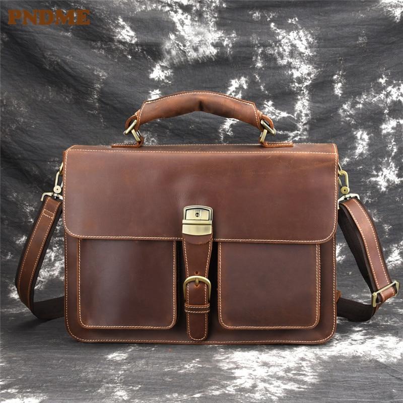 PNDME high quality vintage business crazy horse cowhide genuine leather large capacity men's briefcase messenger laptop bags