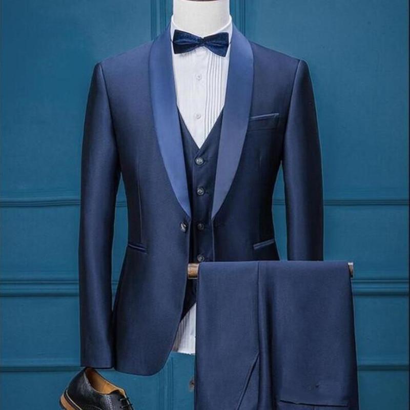 Custom Made Navy Blue Wedding Mens Suits Three Piece Groom Tuxedos for Men Best Business (Jacket+Pants+Vest)
