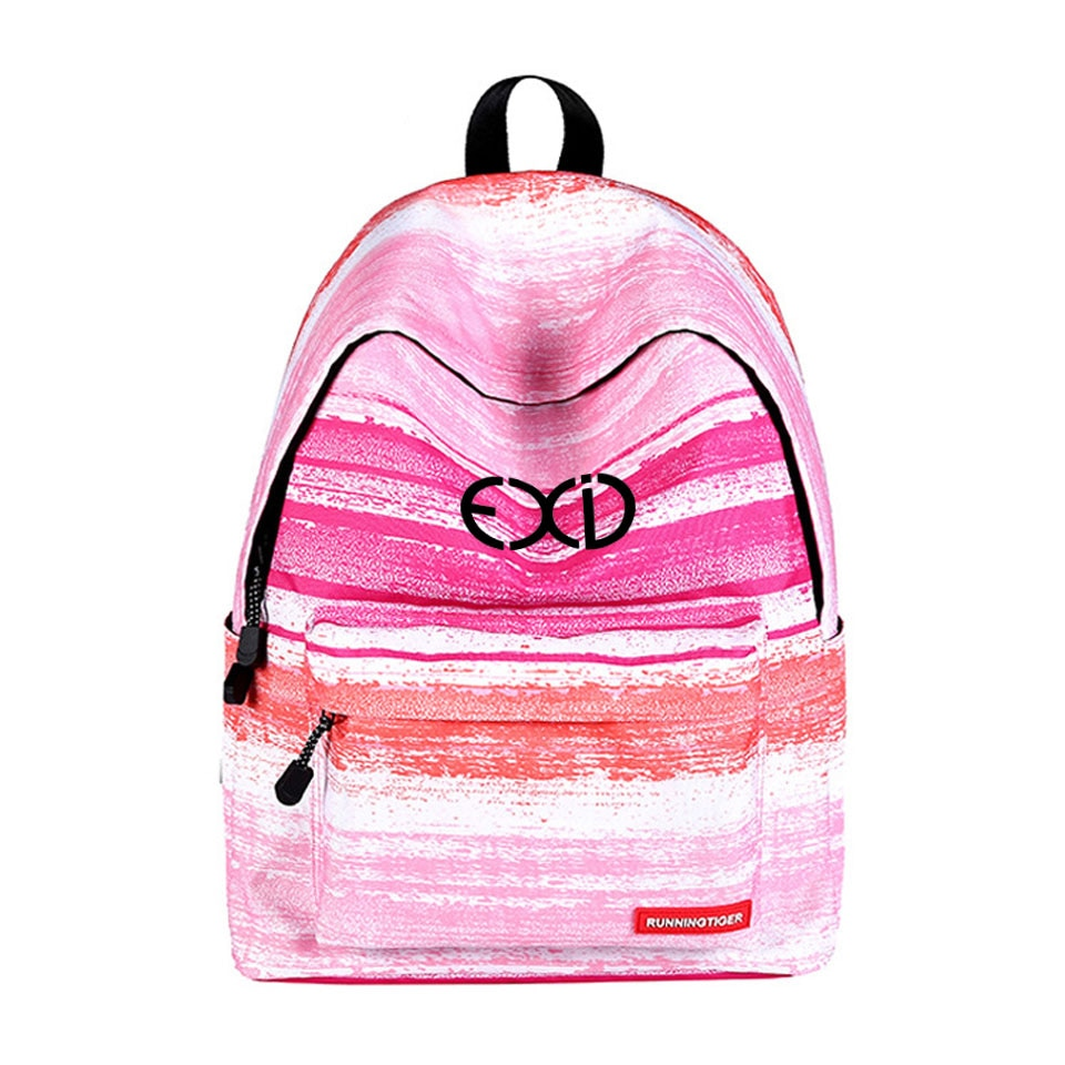 Mochila EXID con estampado fresco a rayas con cielo estrellado/serie de gradiente de moda mochila escolar pequeña estilo fresco
