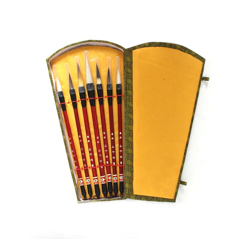 7PCS Chinese Calligraphy Brush Pen add Storage Box Wool Hair Painting Brushes Set for School Darwing Art Supplies