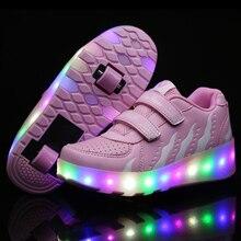 2019 nouveaux enfants chaussures de roue mode éclairer patin à roulettes baskets pour enfants lumières LED garçons filles chaussures de sport rougeoyantes