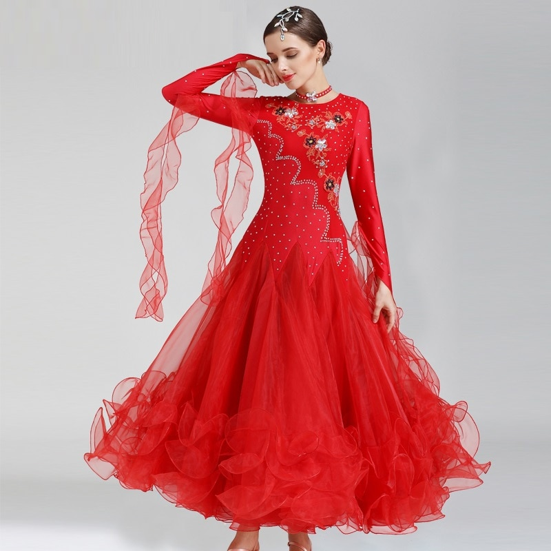 New Ballroom Competition Dance Costume Women Tango Flamenco Waltz Dancing Skirt Adult Ballroom Dance Suit Plus Size B-7154