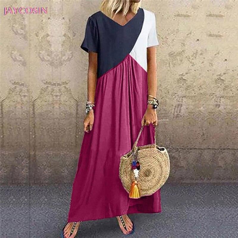 JAYCOSIN 2019 Dress Women Casual Splicing Short Sleeve Loose Party Long Colorful Dress Roman Style PLUS Size S- 5XL Drop #0626