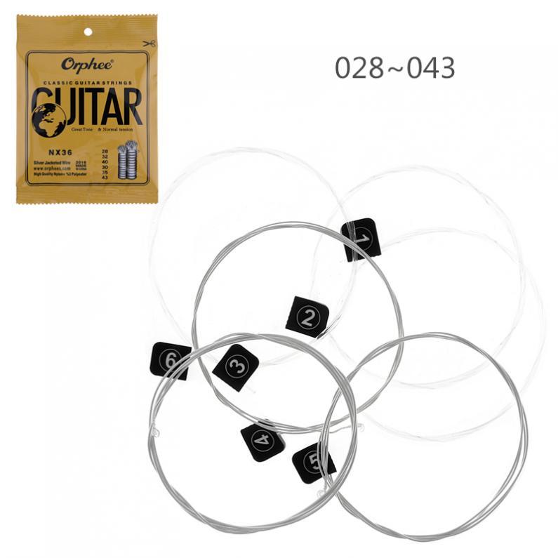 6 pièces/lot chaîne de guitare classique 028-045 fil gainé dargent avec un grand ton et une Tension normale