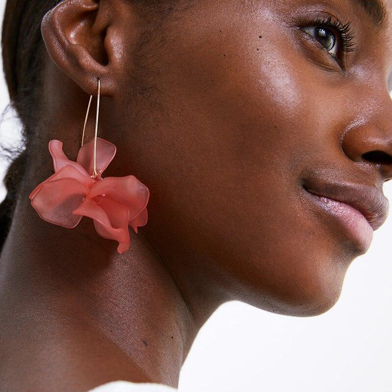 Pendientes largos de flor de resina de moda multicolor JURAN ZA 2019, nuevos diseños, Pendientes colgantes de pétalos hechos a mano bohemios para regalo de mujer