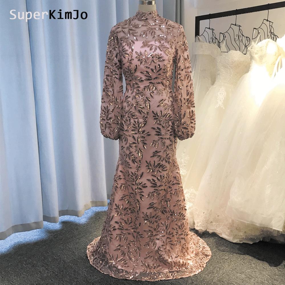 SuperKimJo Robe De Soiree 2019 Mermaid Dusty Pink Evening Dresses Long Sleeve Sequin Luxury Gown Abendkleider