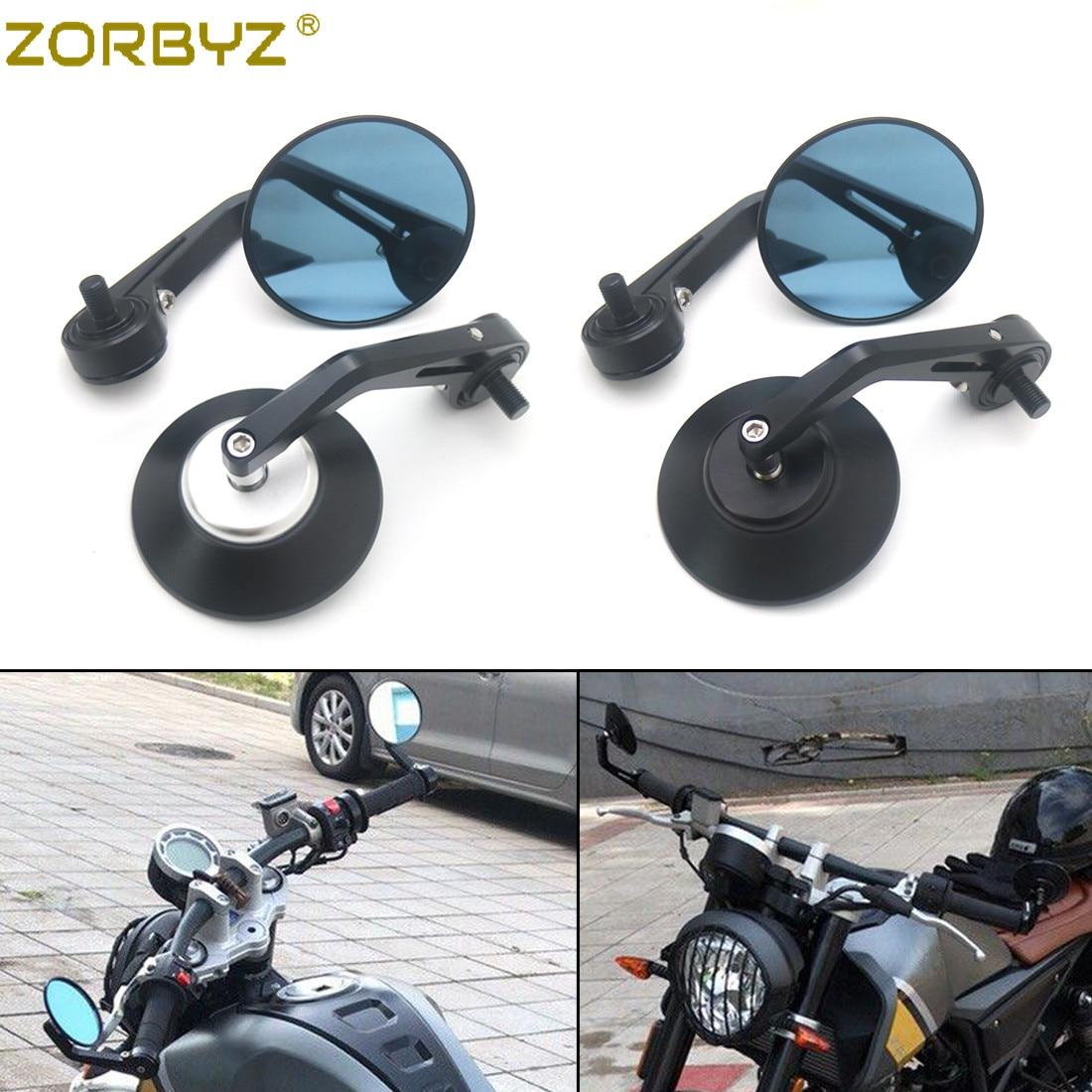ZORBYZ Motorcycle Black CNC Aluminium Round Handlebar end Side Mirror 10mm thread inside Fit For FB Mondial Aprilia CR150