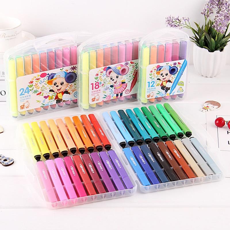 12/18/24/36/48 colores arte rotulador Juego de dibujo niños de colores pintura acuarela bolígrafos graffiti de lavado de agua no tóxico seguro