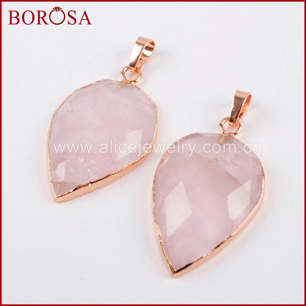 BOROSA Druzy gemas cuentas colgantes de cuarzo, forma de gota Rosa oro Color rosa cuarzo colgante para collar joyería DIY WX803