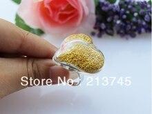 Free ship! 50sets/lot 30*35mm heart Glass Bubble & Ring set glass globe ring set glass vial pendant glass bottle charm pendant