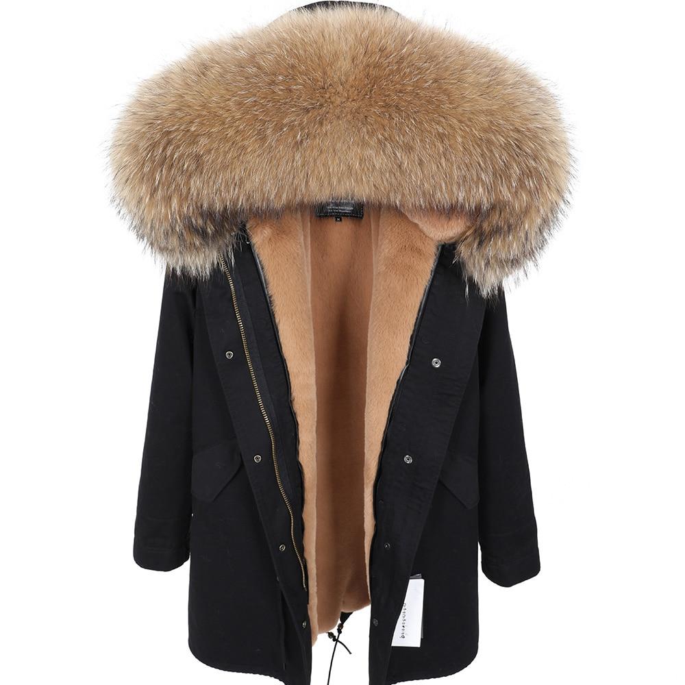 MAOMAOKONG2020 nuevo Cuello de piel de mapache Real abrigo de mujer ropa larga gruesa abrigo caliente mujer invierno abrigo parkas