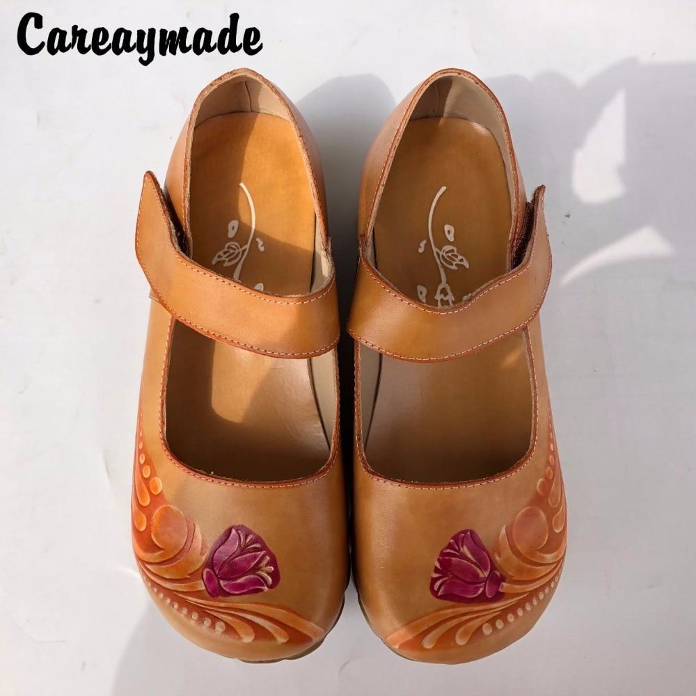 Careaymade-estilo Folk cabeza capa de piel de vaca puro tallado A Mano zapatos retro Arte mori chica zapatos mujeres sandalias 1510-23